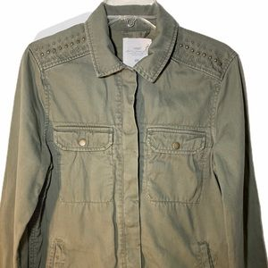 H&M studded utility jacket green size 6